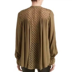 Free People Lace Back Crinkle Tunic Top Blouse